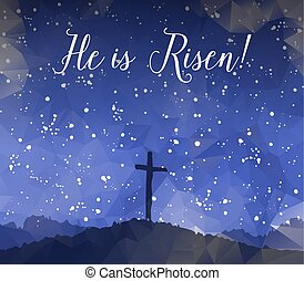 Easter scene with cross. Jesus Christ. Watercolor vector illustr