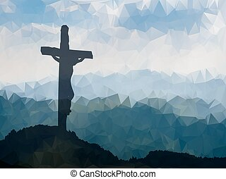 Easter scene with cross. Jesus Christ. Watercolor vector...