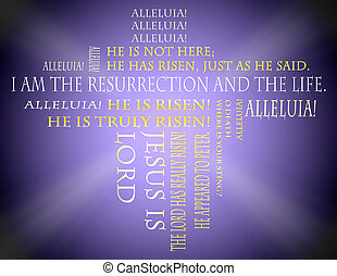 Easter Bible scriptures on a purple background.