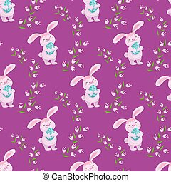 Easter seamless banner with bunny, eggs, flowers