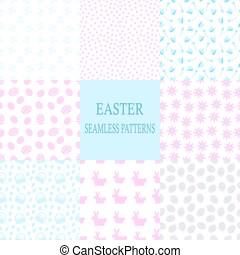 Easter seamless pattern set of eight in blues and pinks