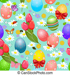 Easter seamless texture with eggs