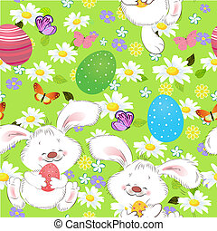 Easter seamless texture with rabbit