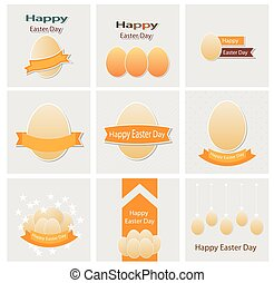 Easter set greeting cards vector
