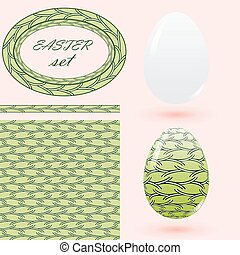 Easter set in green tones with eggs seamless pattern frame and brush