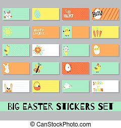 easter set - vector set of teplates of sticky notes, Easter...