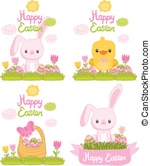 Easter set with bunny, chicken, eggs, basket.