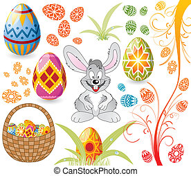 Easter set with eggs, rabbit and basket - Easter set with...