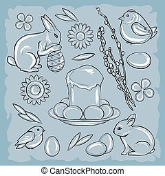 Easter set with rabbit, chicken, Easter cake, flowers, pussy willow and eggs on a blue vintage background