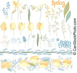Easter  set with spring tulips, plants,daffodils and herbs. Yellow and blue colors. Objects isolated on white background