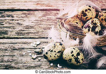 Easter setting with quail eggs