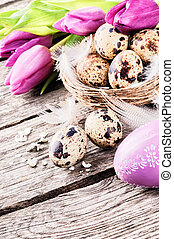 Easter setting with quail's eggs