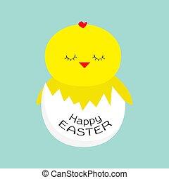 Easter sleeping chicken. Egg shell. Baby background. Flat design.