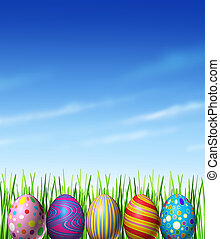 Easter spring decoration with decorated traditionally painted eggs as a cultural and religious celebration of renewal and hope as a symbol of an egg hunt game for kids with grass and a blue sky design element.
