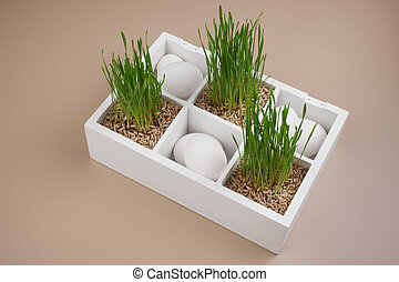 easter spring decoration with grass and white eggs