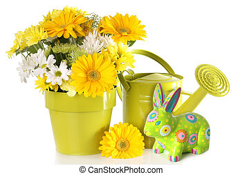 Easter Spring floral - Yellow Easter bunny and spring flower...