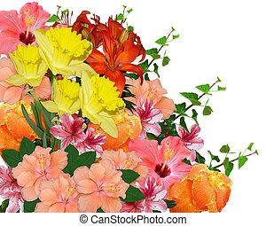 Image and illustration composition of Spring flowers bouquet for Mothers day or Easter background