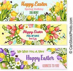 Easter spring holiday greeting vector banners set
