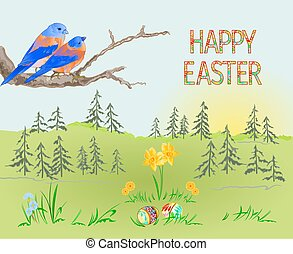 Easter spring landscape and birds and easter eggs vector.eps