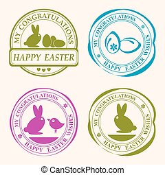 easter stamp with a silhouette of a rabbit, set