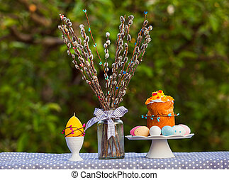 Easter still life picture outdoors in garden
