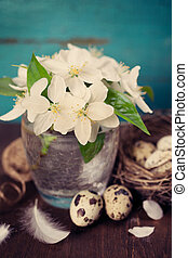easter still life rustic style
