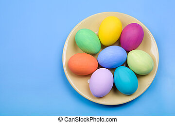 Easter - Image of several color eggs placed on plate