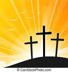 Easter style Three Crosses - Crosses Illustration on Yellow...