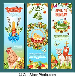 Easter Sunday celebration banner template set
