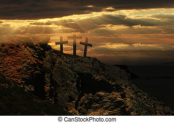 Easter sunrise and Three crosses on a hill.