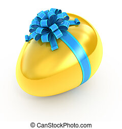 Easter surprise - golden egg with ribbon isolated on white