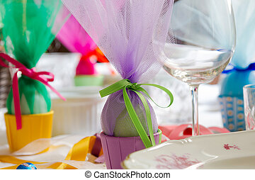 Easter table - Colorful Easter table setting with beautiful...