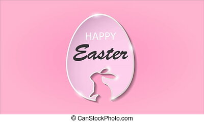Easter text and egg on a pink background, art video...