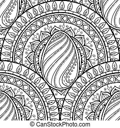 Easter theme mandala with doodle egg. Black and white design.