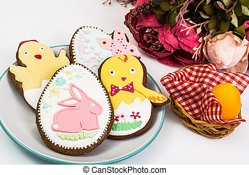 Easter themed cakes on a white background