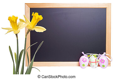 Easter time - Chalkboard with Easter eggs and daffodils