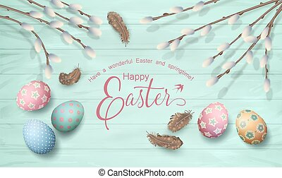 Easter Top View Background - Easter top view wooden ...