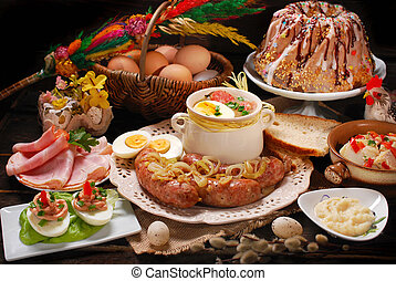 easter traditional dishes on rural wooden table - easter...