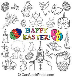 Easter traditional symbols collection