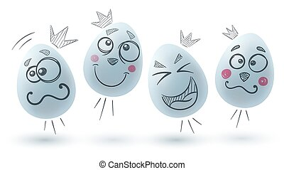 easter., tre, fondo., uovo bianco, felice