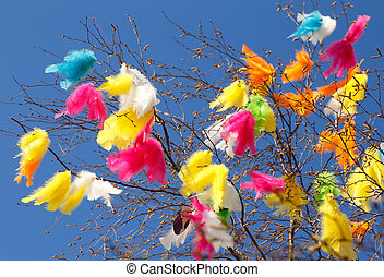 Easter tree twigs with feathers