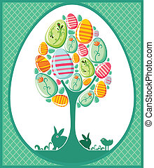 Easter tree with easter bunnies