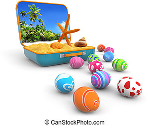 easter trip - sand with seashells in a suitcase and easter...