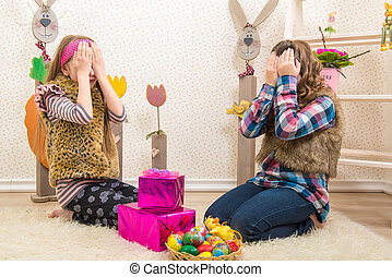 Happy girlfriend gets a surprise gift easter holiday pictures easter two sisters girlfriend surprised easter gift negle Images