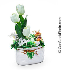 Easter vase from a flower arrangement on white background