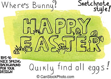 Easter vector background with bunny and eggs