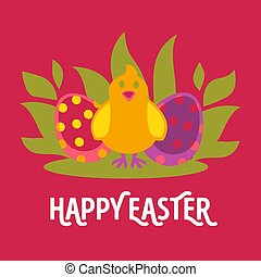 Easter vector cartoon greeting card with chicken