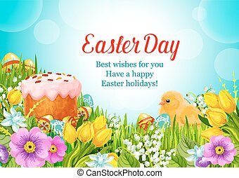 Easter vector greeting paschal cake, eggs, flowers