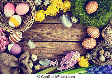 Easter Vintage background, Toned image
