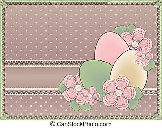 Easter vintage card, vector